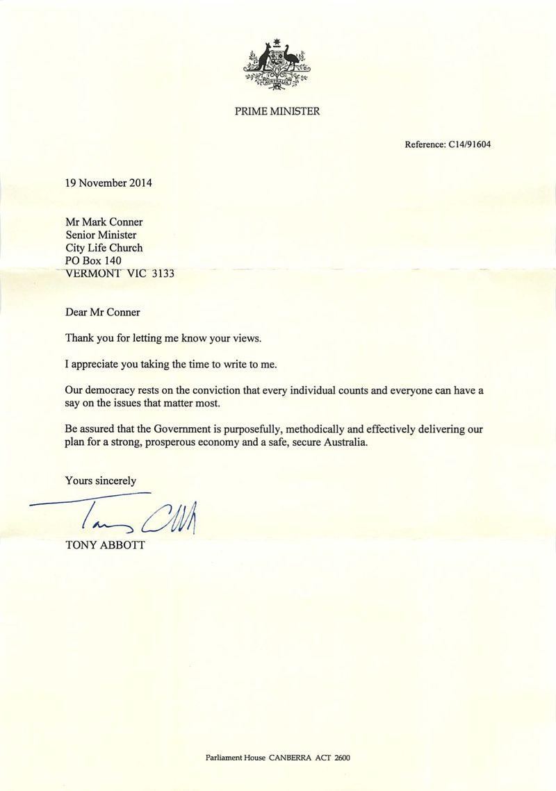 Tony Abott Letter (Nov 2014)